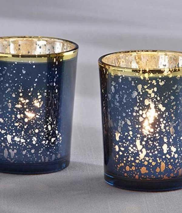 Blue Mercury Glass Tea Light Holders
