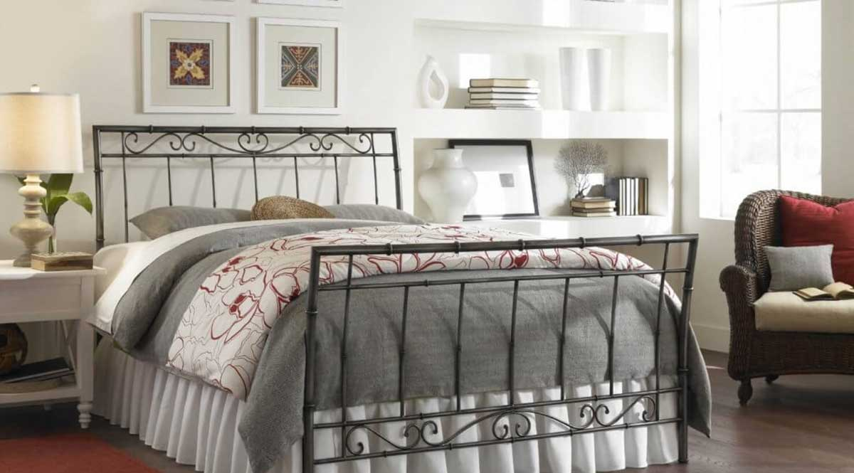 A deluxe floral design metal bed for royal bedrooms