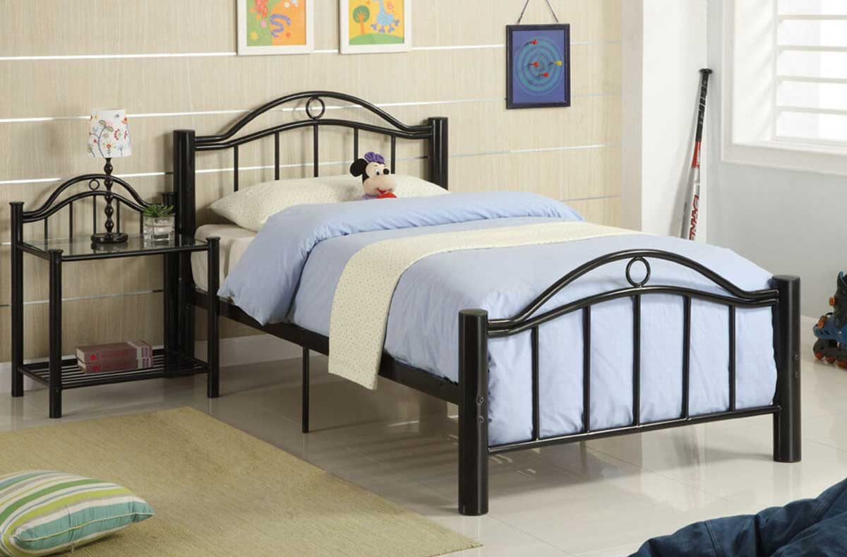 A very basic single occupancy metal bed for hostels and PGs