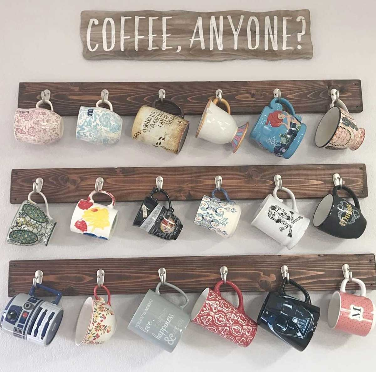A wall hanging space to hang all of your tea and coffee mugs