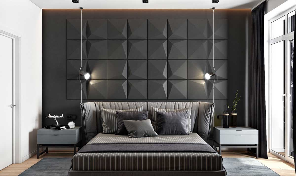 Go for wooden panels in the men's bedroom to make the space elegant