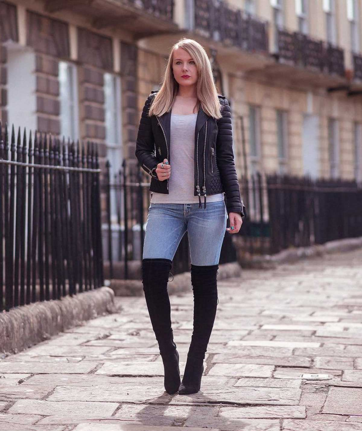 Leather coat and knee-high boots