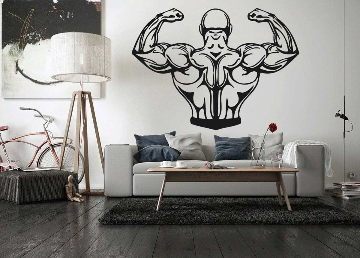 The addition of some gym pictures in the room will create a muscular vibe