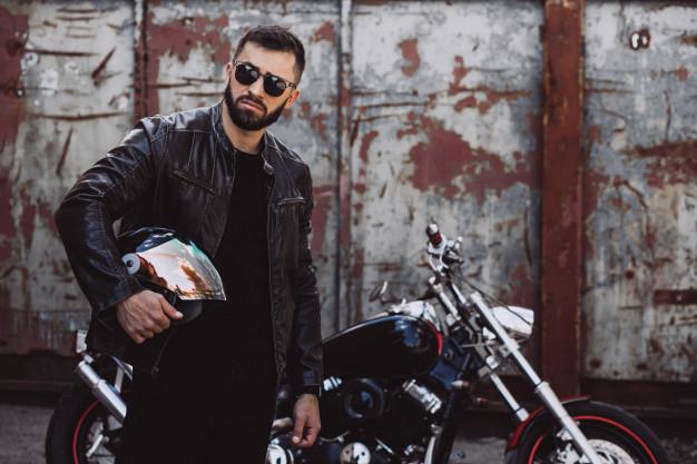 biker man in leather jacket